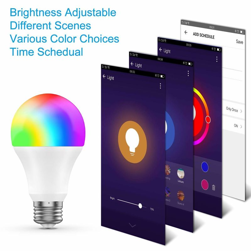 Remote Control RGB / White Wifi LED Bulb 800 Lumen Smart Phone Control